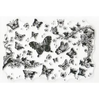 クリアスタンプ 蝶と花吹雪の背景