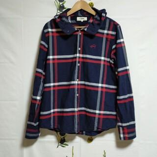 TOMMY - TOMMY シャツパーカー チェックシャツ 長袖シャツ フード有り トミー L