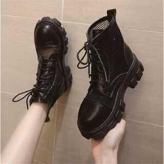 韓国ファッション マーティンブーツ 百掛けレーヨン 厚底 ショートブーツ(ブーツ)