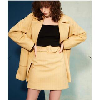 eimy istoire - カラー ヘリンボーン ショートコート スカート セット