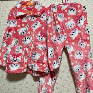 130cm新品女の子 もこもこ あったか 上下セット 秋冬 長袖 防寒パジャマ