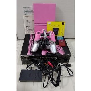 プレイステーション2(PlayStation2)のPS2★本体(ピンク)外箱付き+おまけ(家庭用ゲーム機本体)
