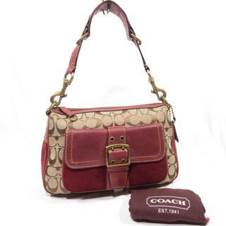 コーチ(COACH)の美品■ COACH コーチ ショルダーバッグ 本革 スエード 保護袋有り 正規品(ショルダーバッグ)