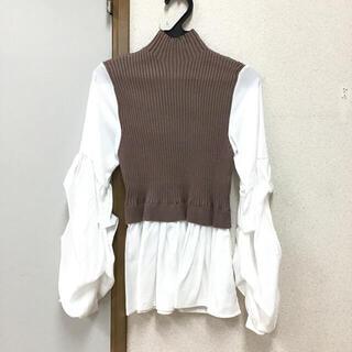 ニットベストドッキングボリューム袖ブラウス くすみピンク(シャツ/ブラウス(長袖/七分))