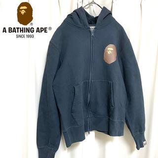 アベイシングエイプ(A BATHING APE)のセール 激レア A BATHING APE ビッグロゴパーカー ネイビー(パーカー)