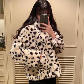 ディーホリック(dholic)の韓国ファッション♡ダルメシアン柄ファーコート(毛皮/ファーコート)