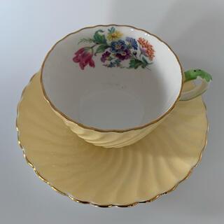 エインズレイ(Aynsley China)のエインズレイ ビンテージ ドレープフラワーイエローティーカップソーサー(食器)