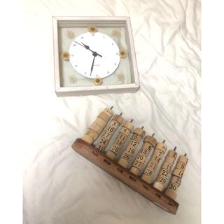 アフタヌーンティー(AfternoonTea)の積み木カレンダー/壁掛け時計(押し花) 北欧風雑貨 ガラス ビンテージ(掛時計/柱時計)