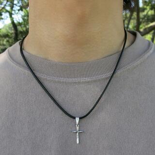 チョーカー シルバー クロスネックレス 40cm メンズ ネックレス(ネックレス)