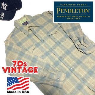 ペンドルトン(PENDLETON)のUSA製 70s ペンドルトン オンブレチェック ウールシャツ 15 M相当(シャツ)