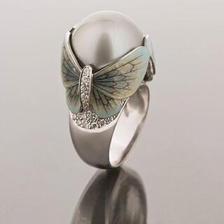 パールcz蝶々ゴージャスデザインリング(リング(指輪))