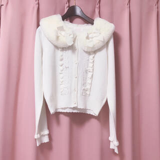 リズリサ(LIZ LISA)のリズリサ♡ファー襟 カーディガン ホワイト(カーディガン)