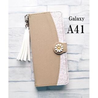 Galaxy A41 ギャラクシー A41 花柄 タッセル ブラウン(Androidケース)