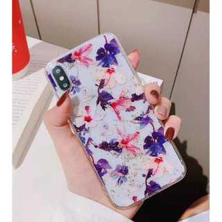 花柄 iPhone ケース iPhoneカバー 透明 クリア パープル XR(iPhoneケース)