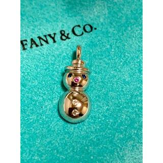 Tiffany & Co. - Tiffany 18k ホワイトゴールド ダイヤ サファイア スノーマンチャーム