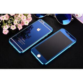 iPhone6/6s前後鏡面ガラス&アルミバンパー ブルー(iPhoneケース)