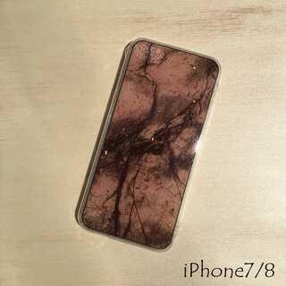 大理石 金箔 iPhone ケース ブラウン 7/8 第二世代SE(iPhoneケース)