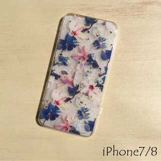 花柄 iPhone ケース 透明 クリア パープル 7/8 第二世代SE(iPhoneケース)
