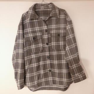 ジーユー(GU)のGU シャツ ネルシャツ グレー オーバーサイズ レディース(シャツ/ブラウス(長袖/七分))