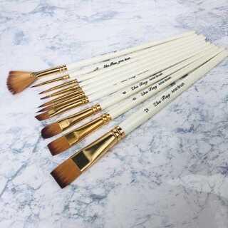 ぼかし 水彩画 アクリル画 絵筆 10本セット 美術用品 筆 水彩筆 白(絵筆)