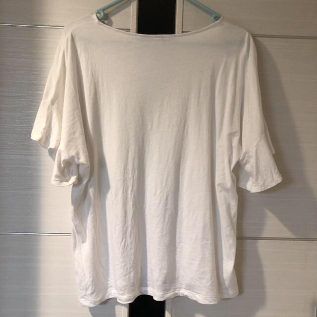 UNIQLO(ユニクロ)のユニクロ フリルスリーブ Tシャツ 白 ホワイト Lサイズ 新品 安室奈美恵 レディースのトップス(Tシャツ(半袖/袖なし))の商品写真