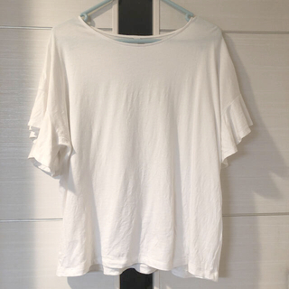 UNIQLO - ユニクロ フリルスリーブ Tシャツ 白 ホワイト Lサイズ 新品 安室奈美恵