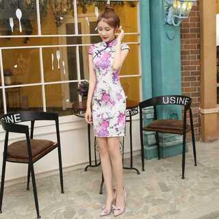 紫色 ショート丈 チャイナドレス  チャイナ服(衣装)