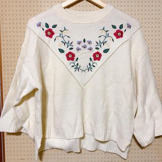 ダブルクローゼット(w closet)のダブルクローゼット 刺繍 ニット(ニット/セーター)