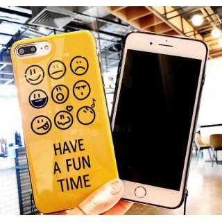 イエロー iphone7 iphone8 iphoneケース スマイル スマホ(iPhoneケース)