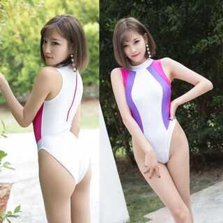 【新品】白紫 レオタード セクシースクール水着 コスプレ衣装(衣装)