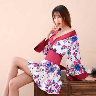 ワインレッド帯 セクシー着物ドレス コスプレ衣装(衣装)