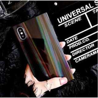 iphoneケース ブラック オーロラ シリコンソフトシェル 強化ガラス 鏡面(iPhoneケース)