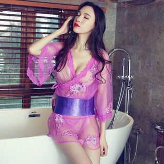 【新品】紫 シースルー 着物ドレス コスプレ衣装(衣装)