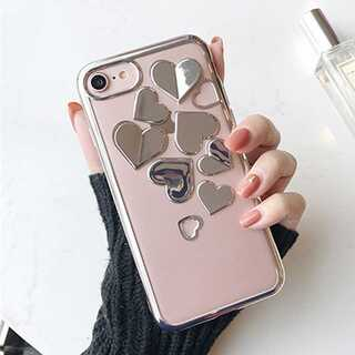 スマホケースシルバー iPhone ハート 3D キラキラ TPU おしゃれ(iPhoneケース)
