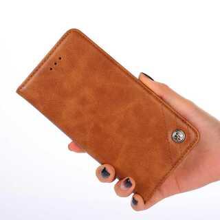 磁石なし iPhone 手帳型ケース iPhoneSE2/8/7 ブラウン(iPhoneケース)