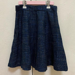 ジーユー(GU)の【1月限定出品】ツイードフレアスカート ネイビー 紺(ひざ丈スカート)