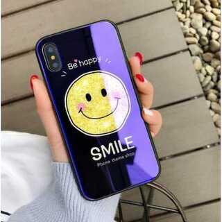 iphoneケース 藍色 スマイリー 鏡面 ブルーミラー 強化ガラス キズ防止(iPhoneケース)