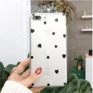 iphoneケース ハートドット柄 ソフトシェル クリア ハート柄ブラック(iPhoneケース)