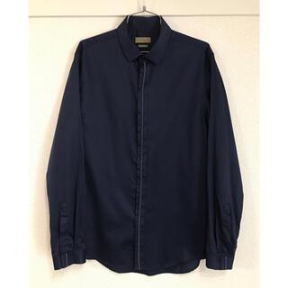 ザラ(ZARA)のZARA  長袖シャツ 紺色 SLIM FIT  スリムフィット(シャツ)
