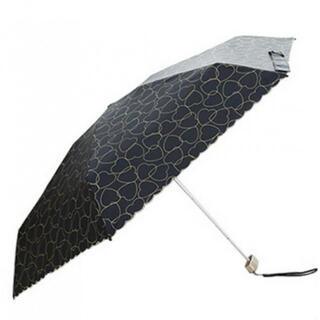 日傘 晴雨兼用 折りたたみ傘 レディース 軽量 防水 コンパクト 黒 ハート(傘)