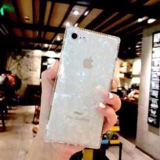 iphoneケース 白 キラキラ ラメ スクエア ラインストーン 耐衝撃 保護(iPhoneケース)