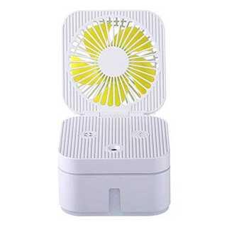 ホワイトFULLBELL 空気加湿器扇風機両用 卓上ファン ミスト 蒸気 美容 (加湿器/除湿機)