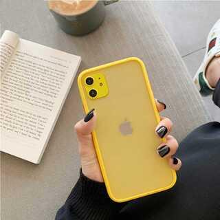 iPhone ケース カバー 半透明 マットイエロー(iPhoneケース)