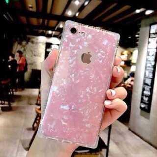 iphoneケース ピンク キラキラ ラメ スクエア ラインストーン 耐衝撃(iPhoneケース)