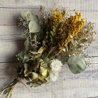 ミモザ アジサイ ユーカリ かすみ草の花束 ドライフラワー(ドライフラワー)