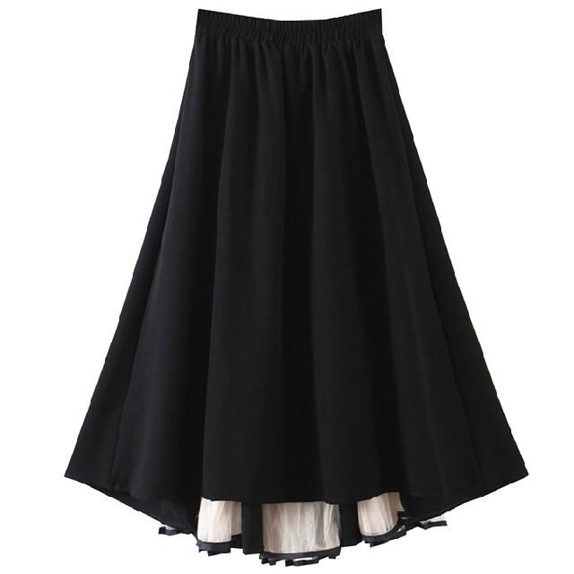 チュール 切り替え スカート レディースのスカート(ロングスカート)の商品写真