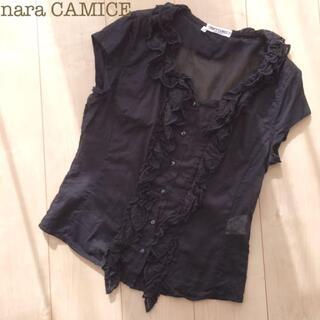 ナラカミーチェ(NARACAMICIE)のNARACAMICEノースリーブコットンフリルブラウス黒ブラックIIシャツ(シャツ/ブラウス(半袖/袖なし))
