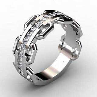 ラグジュアリー メンズ ジルコニア シルバーリング 15号 セレブリング(リング(指輪))