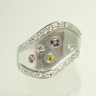 ☆1-13 質屋出品mmPt900天然マルチストーン&ダイヤモンドリング 14号(リング(指輪))