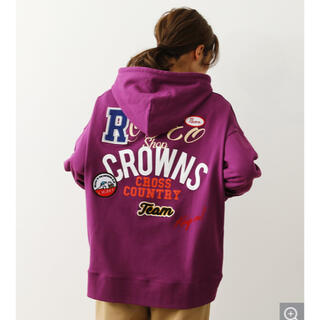 RODEO CROWNS WIDE BOWL - ロデオクラウンズ W MIX PATCH HOODIE ダークパープル